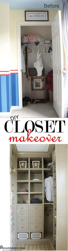 Amazing small Closet Makeover! - A boy's closet is updated, packing it with lots of storage solutions.