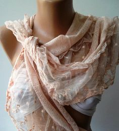 Pink  Elegance  Shawl / Scarf with Lacy Edge by womann on Etsy, $19.00
