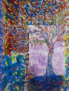 Tree of Life Abstract Wall Quilt | SieberDesigns - Quilts on ArtFire