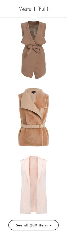 """Vests 1 (Full)"" by middletondonna ❤ liked on Polyvore featuring outerwear, vests, jackets, coats, dresses, khaki, vest waistcoat, short vest, sleeveless waistcoat and brown vest"