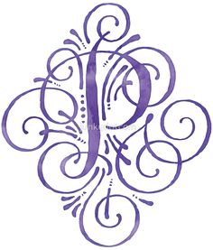 Monogram Watercolor Purple P by junkydotcom