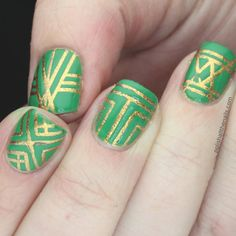 We are obsessing over this art deco design on Polish All the Nails. If you aren't feeling the gold, you could always use white or silver. We recommend striping tape if you have any. If not, a steady hand will do just fine.