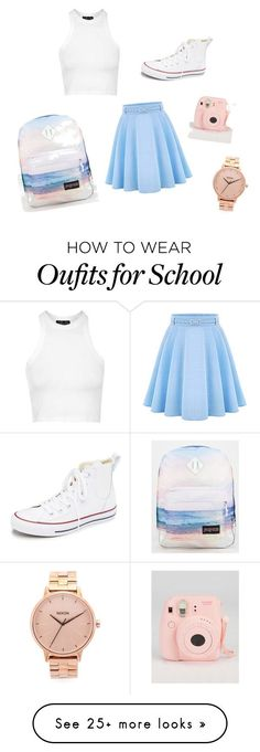"""School Outfit♡"" by nadinea-573 on Polyvore featuring Topshop, WithChic, Converse, JanSport, Nixon, women's clothing, women's fashion, women, female and woman"
