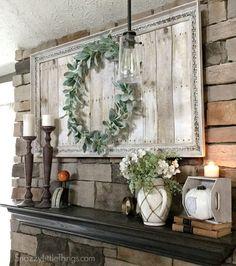fancy frame, pallet backing, lambs ear wreath