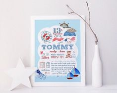 ON SALE 20% OFF Nautical birth stats print, baby milestones print, new baby print, new baby gift, personalised baby prints, personalised new
