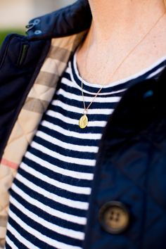 Burberry Quilted Jacket with Monogrammed Necklace