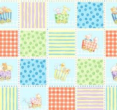 Fabric Panel Little Train Cathy Loo Baby Quilt Fabric Animals - product image