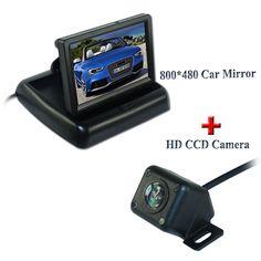 "2 in 1 HD CCD car rear view parking camera + 4.3"" HD 800*480 Car Mirror Monitor rear monitor Promotion"