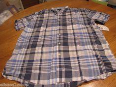 Men's Tommy Hilfiger shirt L LG large button up blue plaid 469 7817652 NEW NWT  1