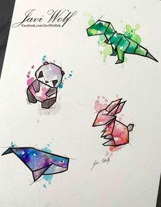 Geometric animals with watercolor wash - trex Inspiration Art, Art Inspo, Javi Wolf, Art Mignon, Art Design, Design Ideas, Design Color, Pattern Design, Oeuvre D'art
