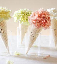 """""""Ice cream"""" flower centerpieces for an ice cream party. Unique Flower Arrangements, Unique Flowers, Flower Centerpieces, Table Centerpieces, Flower Decorations, Wedding Decorations, Table Decorations, Gift Flowers, Table Arrangements"""
