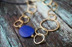 Blue Moon and Hammered Brass Necklace