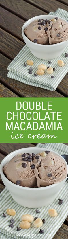 This easy double chocolate macadamia ice cream really delivers on chocolate. It's dairy-free, egg-free and refined sugar-free, but big on flavor. ~ http://cookeatpaleo.com