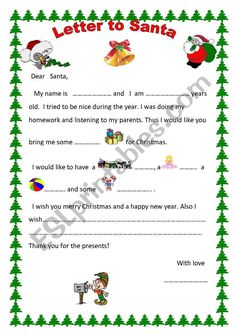 This is a letter to Santa Claus. Children have to see the images and complete the missing words. It helps children see how we write a letter, learn Christmas vocabulary and practice their ability to write Christmas wishes. Teaching Kids, Kids Learning, To My Parents, Creative Writing Prompts, Vocabulary Worksheets, Student Motivation, Santa Letter, Christmas Wishes, Learn To Read
