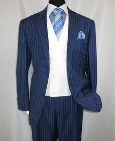 2 Button Pinstripe Single Breasted Shawl Collar Vested Side Vent Suit