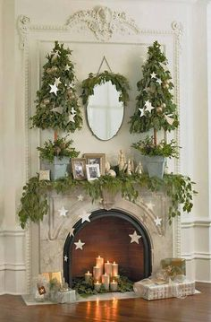 15 Gorgeous Christmas Mantels - Christmas Decorating - stars on the fireplace