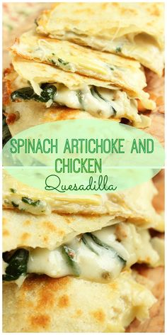 Spinach Artichoke and Chicken Quesadilla The Suburban Soapbox is part of Quesadilla recipes - Quick and simple with a little help from a grocery store rotisserie chicken! This Spinach Artichoke and Chicken Quesadilla comes together in minutes Think Food, I Love Food, Good Food, Yummy Food, Mexican Food Recipes, Dinner Recipes, Chicken Quesadillas, Chicken And Spinach Quesadilla Recipe, Chicken Tacos