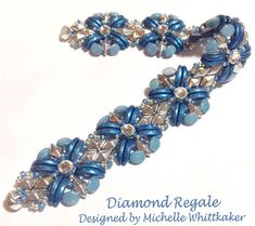 """Diamond Regale Needlework Bracelet Tutorial PDF"""" . Diamond Regale Bracelet is a perfect Match to work with Regale Serenity Pendant/Necklace (Listed separately). It has been designed giving beautiful textured effect, featuring Rose Montee Rhinestone, surrounded with Czech 2 Hole Crescent"""