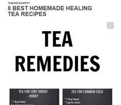 Sore Throat Tea, Herbal Tea Benefits, Tea Recipes, Herbalism, Remedies, Good Food, Healing, Homemade, Link