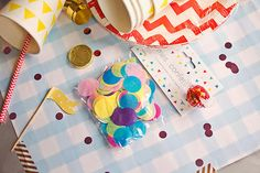 rigby & mac party confetti decorations by Shiny Thoughts