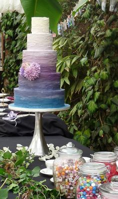 monet inspir, peacock color, blue ombr, colorful cakes, color theme, monet cakes, color cake, birthday cakes, purple wedding cakes