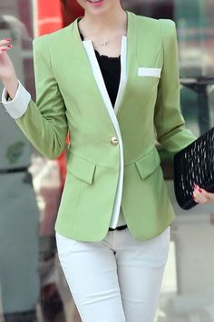 Fashionable V-Neck Long Sleeve One-Button Slimming Women's Blazer - Woman Jackets and Blazers Blazers For Women, Coats For Women, Jackets For Women, Clothes For Women, Women Blazer, Blazer Fashion, Fashion Outfits, Womens Fashion, Fashion Site