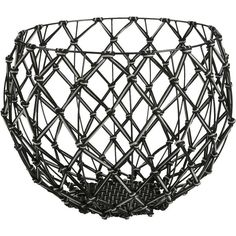 CB2 Macramé Basket found on Polyvore featuring home, home decor, small item storage, weave basket, cb2, outdoor home decor, handmade woven baskets and handmade home decor