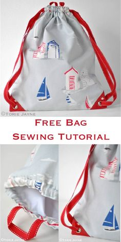 Free waterproof lined drawstring-backpack sewing tutorial