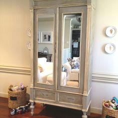 Annie Sloan Paint - Paris Gray all over, followed by Antique White applied to trim, followed by clear wax, then dark wax.