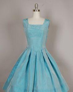 vintage 1950s dress 50s party dress full skirt