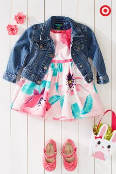 Pair a cool denim jacket with a sweet, floral-patterned dress for a fun twist on a classic, springtime look. Add fancy Mary Jane shoes and delicate flower barrettes, and your little girl will be ready for the best Easter egg hunt or family photos.