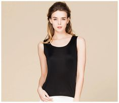 Silk Tanks Top Solid Basic Vest O Neck Sleeveless Silk Underwear, Tanks, Tank Tops, Top Pattern, Casual Tops, Vest, Clothes For Women, Shop, Model