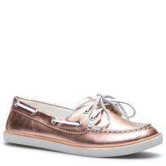 """Snicker"" Metallic Rose Gold color, faux-leather boat shoe with faux-leather details. Lightly padded canvas insole and treaded outsole. So comfy and go with everything!"