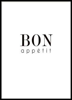 Póster para la cocina con el texto 'Bon appétit'