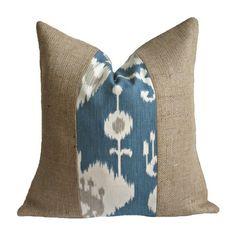 Ikat and Burlap Pillow.