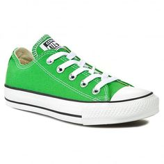 Shop the Converse All Star Ox Canvas Trainers in Jungle Green. off your First Order. International Delivery Available. Green Converse, Converse All Star Ox, Ladies Converse, Ladies Shoes, Chuck Taylor Sneakers, Trainers, Women Wear, Take That, Lace Up