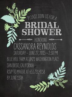 Bridal Shower - Wedding Paper Divas - Chalked Leaves:Honeydew