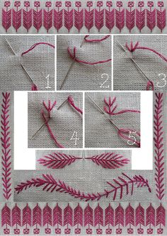 Sewing~ Fly stitch Tutorial with suggestions of how to use as a decorative border
