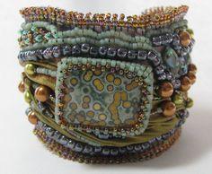 Shibori ribbon bead embroidered bracelet by Cyndi Lavin