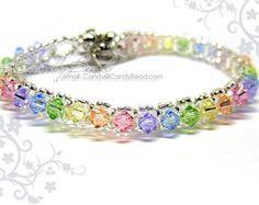 Bracciale arcobaleno; Bracciale in cristallo; Bracciale Swarovski; Bracciale in vetro; Swarovski Crystal - bracciale arcobaleno dolce singola riga