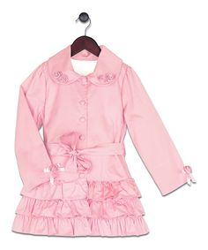 Look at this #zulilyfind! Pink Twill Ruffle Coat - Toddler & Girls #zulilyfinds