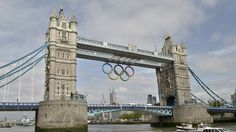 Giant Olympic Rings unveiled on Tower Bridge