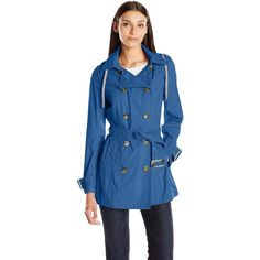 Anorak Women's Packable Trench ($61) ❤ liked on Polyvore featuring outerwear, coats, blue coat, blue trench coat, anorak coat, anorak jacket and trench coat
