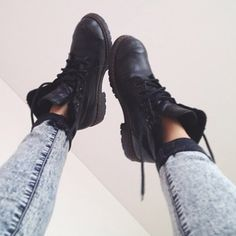 shoes black boots jeans military style military boots black boots like combat boots leather booties black booties doc martins vintage drmartens lace up indie tumblr urban outfitters blogger black timberlands skinny jeans shorts timberlands fashion love  it cute ankle boots black combat boots blue skinny pants acid wash perf tumblr outfit black military shoes black shoes combat grunge grunge shoes boot punk timbland boots clothes footwear jhene aiko timberland little black boots grey denim…
