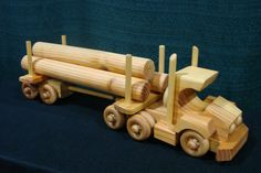 Wooden Toy Log Semi Truck Hand Made
