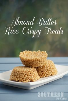 Say goodbye to sticky, sickeningly sweet rice krispy treats and HELLO to a healthier, more delicious version. These Honey Almond Butter Rice Crispy Treats are so easy with just three ingredients and no awful stickiness! Healthy, gluten free, low fat and sugar free.