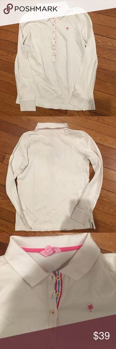 LILLY PULITZER S BUTTON DOWN WHITE TSHIRT LS Lilly Pulitzer collared white long sleeved t shirt with six buttons small Lilly Pulitzer Tops Tees - Long Sleeve