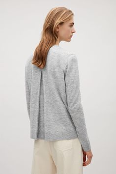COS image 3 of Back pleated round-neck cardigan in Grey