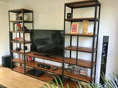 wood Shelves Under TV TVs is part of Tv furniture - Welcome to Office Furniture, in this moment I'm going to teach you about wood Shelves Under TV TVs Tv Furniture, Steel Furniture, Furniture Dolly, Industrial Design Furniture, Furniture Design, Industrial Metal, Shelves Under Tv, Etagere Design, Rack Tv
