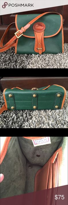 """Vintage Dooney & Bourke Medium Essex Bag Beautiful, preloved, vintage leather bag • year: 1996 • Pebbled all weather • Color; Fir • Trim; British Tan • """"solid brass"""" hardware• length : 10 1/4"""" • height 8"""" • width 4 1/2"""" • strap - longest 23"""" ; shortest 21""""  (also removable) • This is a preloved bag so it does have pen marks on the sides on the inside, a few scratches on the back, a couple of discoloration spots on inside and a very small part of the strap. Any more questions ask! Open to…"""